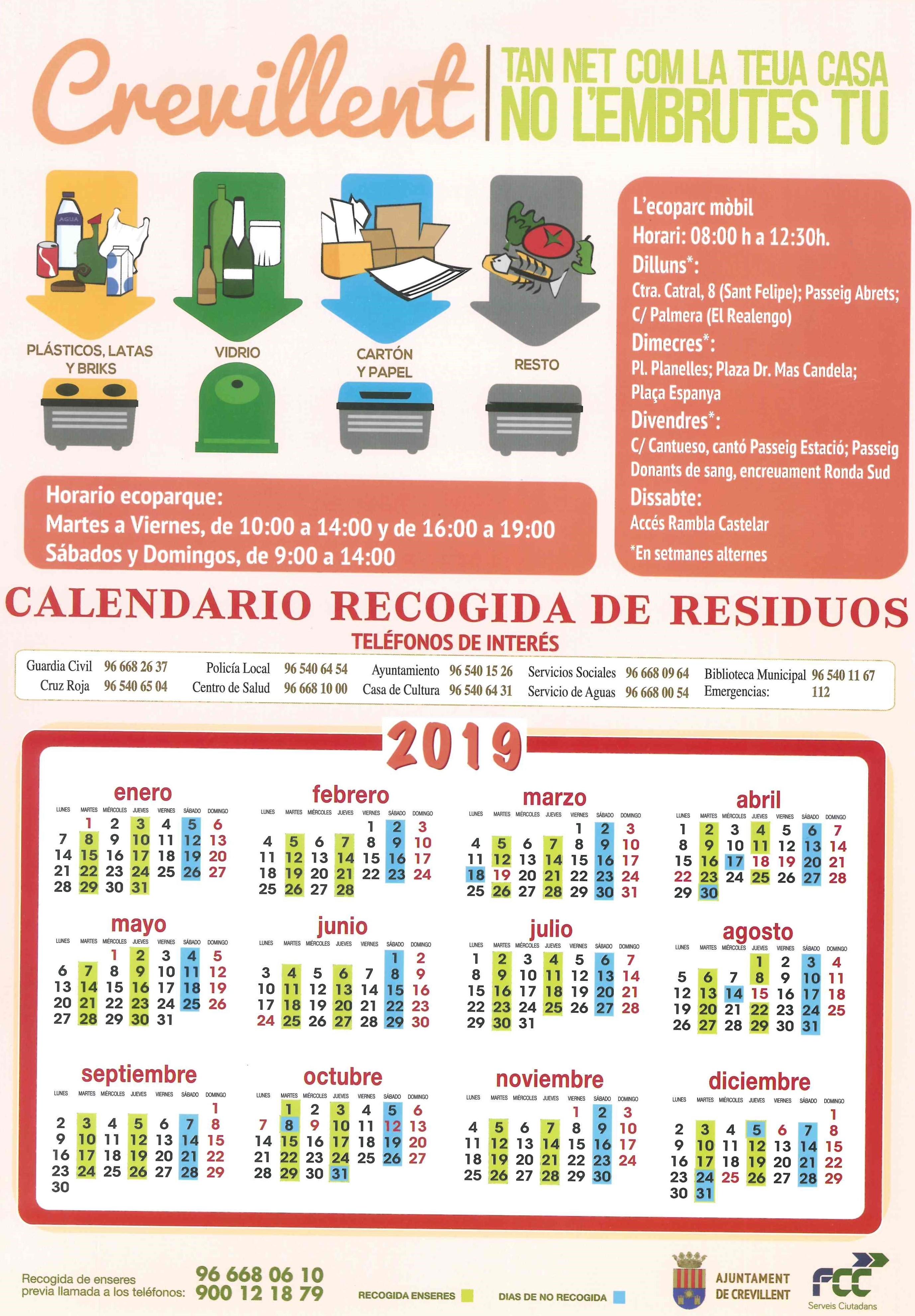 Calendario Recogida de Residuos 2019