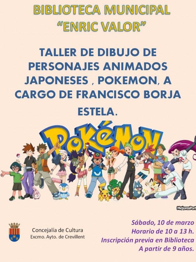 TALLER DE DIBUJO  DE PERSONAJES ANIMADOS JAPONESES, POKEMON, A  CARGO DE FCO. BORJA ESTELA PRIETO.
