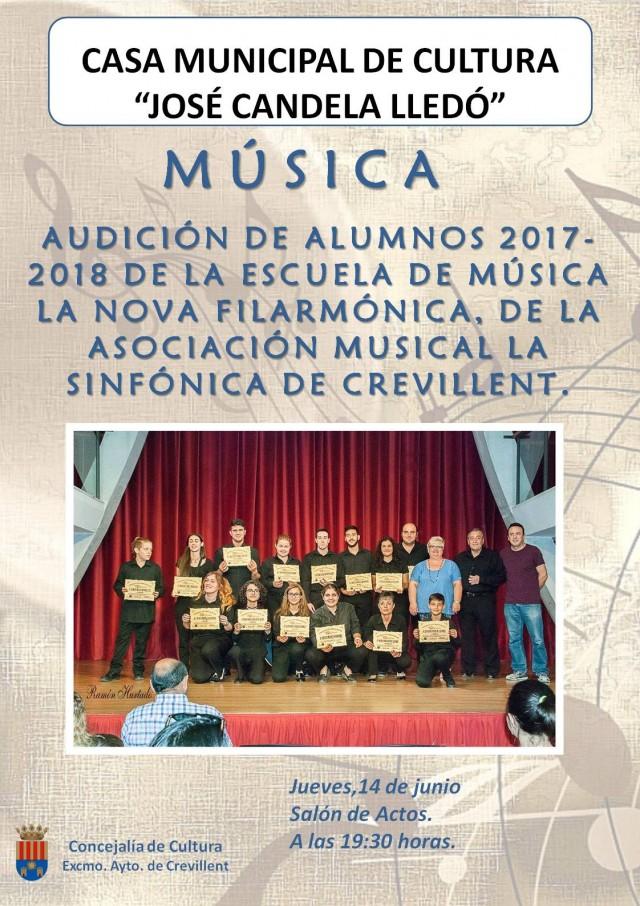 AUDICIÓN DE ALUMNOS 2017-2018 DE  LA ESCUELA DE MÚSICA LA NOVA FILARMÓNICA, DE LA ASOCIACIÓN MUSICAL LA SINFÓNICA DE CREVILLENT.