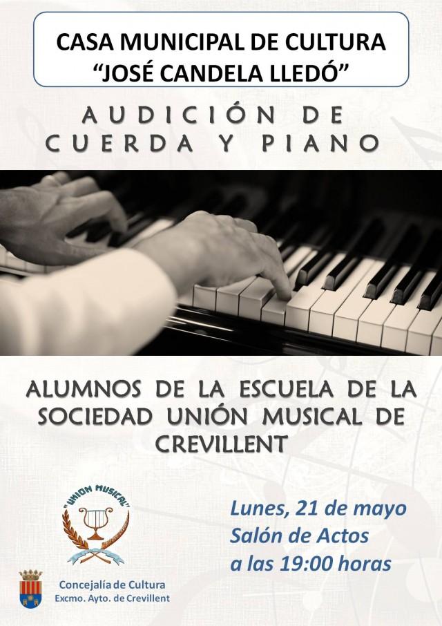 AUDICIÓN DE CUERDA Y PIANO DE LOS ALUMNOS DE LA ESCUELA DE LA SOCIEDAD UNIÓN MUSICAL DE CREVILLENT.