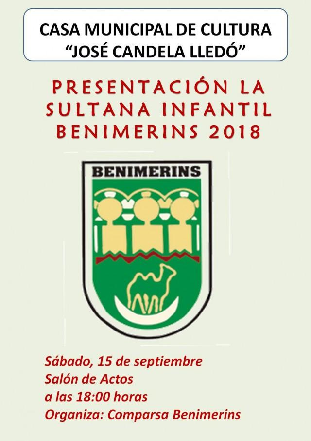 PRESENTACIÓN DE LA SULTANA INFANTIL BENIMERINS 2018.