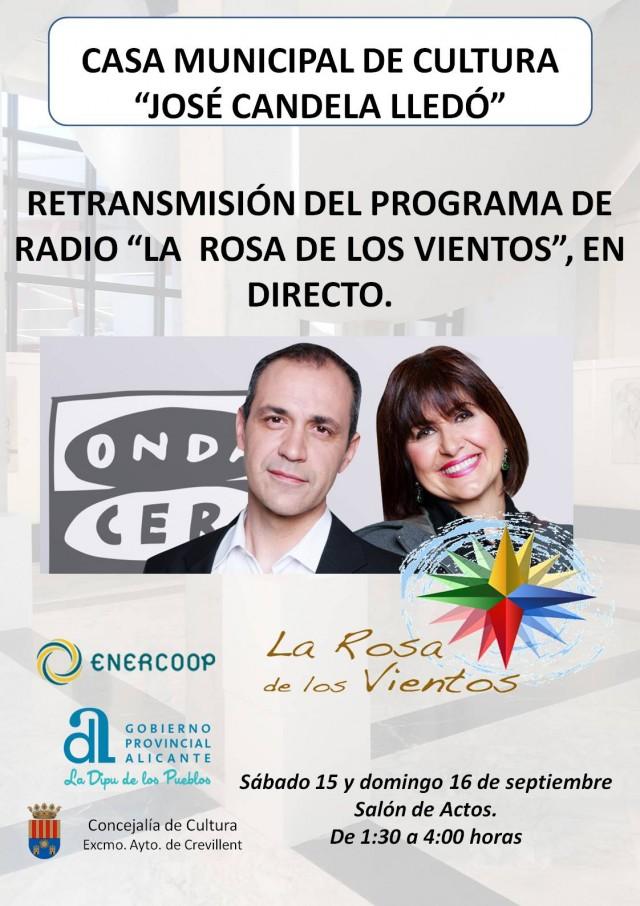 """RETRANSMISIÓN DEL PROGRAMA DE RADIO """"LA ROSA DE LOS VIENTOS"""", EN DIRECTO."""