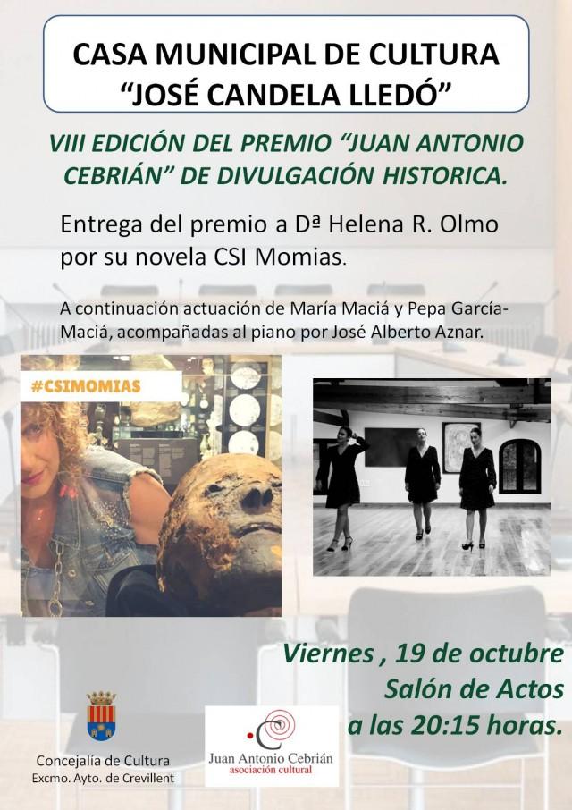 """VIII EDICIÓN DEL PREMIO """"JUAN ANTONIO CEBRIÁN"""" DE DIVULGACIÓN HISTÓRICA."""