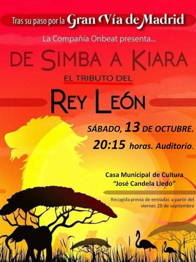 """ESPECTÁCULO FAMILIAR """"EL REY LEÓN,  EL TRIBUTO"""", A CARGO DE LA COMPAÑÍA ONBEAT."""