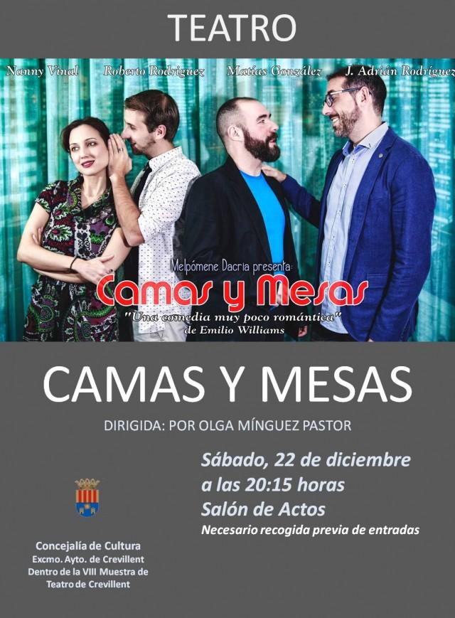 """REPRESENTACIÓN TEATRAL """"CAMAS Y MESAS"""", A CARGO DE LA COMPAÑÍA MELPÓMENE DACRIA TEATRO."""