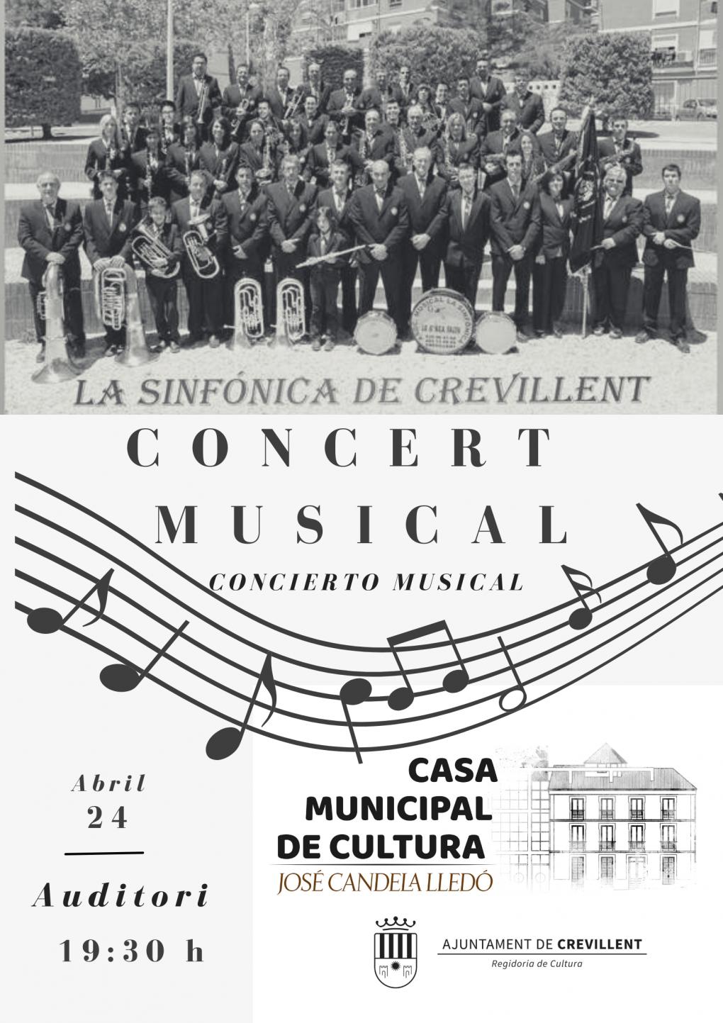 """CONCIERTO A CARGO DE LA ASOCIACIÓN MUSICAL """"LA SINFÓNICA"""" DE CREVILLENT."""