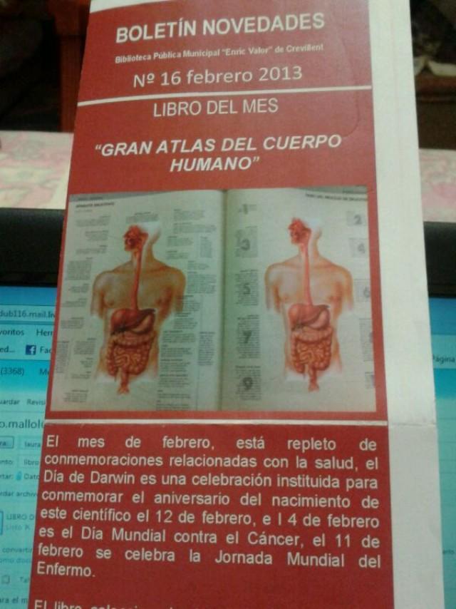 El libro destacado del mes en la Biblioteca es el Gran Atlas del Cuerpo Humano