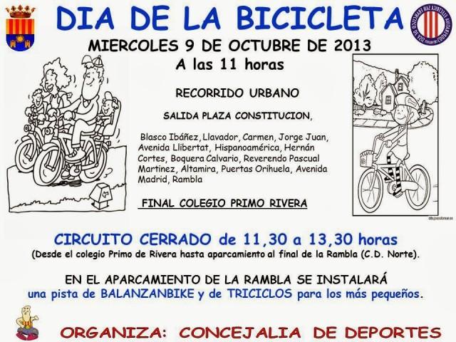 La Concejalía de Deportes organiza mañana 9 de octubre el Día de La Bicicleta