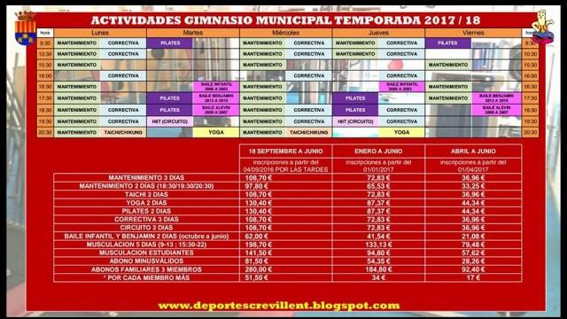 Actividades Gimnasio Municipal