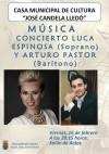 """Los artistas crevillentinos Luca Espinosa y Arturo Pastor, junto al pianista Christian Lindsey, actuarán en la Casa Municipal de Cultura """"José candela Lledó""""."""