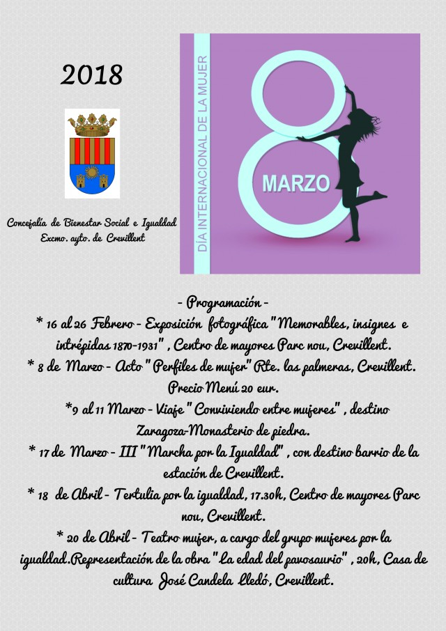 La Concejalía de Igualdad rinde homenaje a cinco mujeres crevillentinas en la conmemoración del Día Internacional de la Mujer
