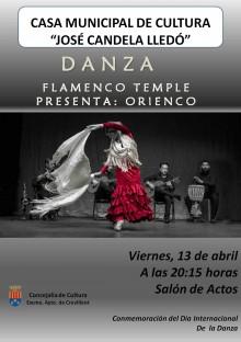 """La compañía """"Flamenco Temple"""" presenta su espectáculo """"Orienco"""" el viernes 13 de abril en la Casa Municipal de Cultura de Crevillent"""