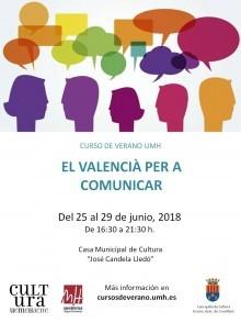 """""""El valencià per a comunicar"""" es el Curso de Verano de la UMH impartido en Crevillent del 25 al 29 de junio"""