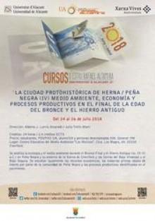 Crevillent acoge del 24 al 26 de julio un curso de verano de la Universidad de Alicante sobre medio ambiente, economía y procesos productivos de Peña Negra/Herna