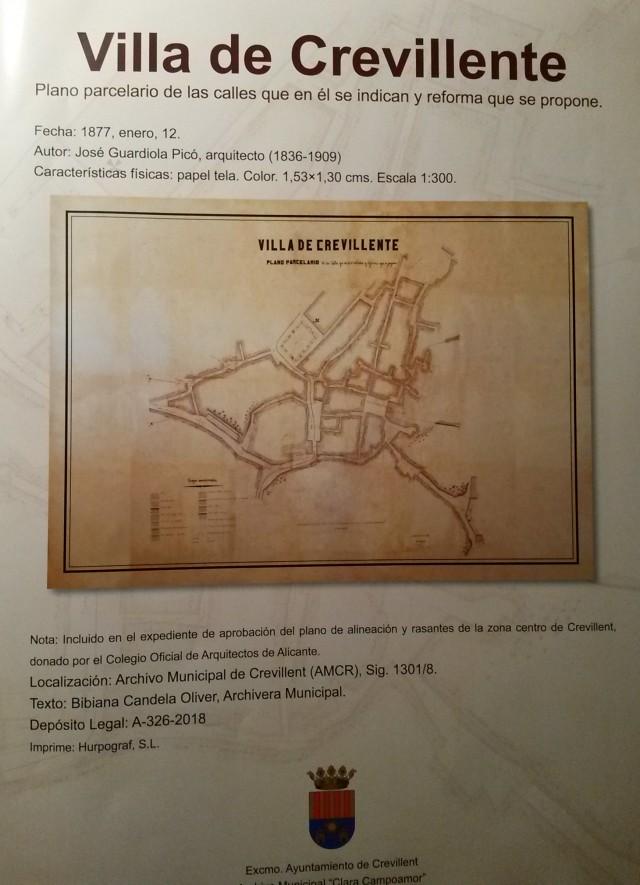 El Archivo Municipal publica el plano  de Crevillent del año 1877