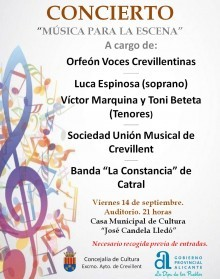 """""""Música para la escena"""" concierto a cargo de Orfeón Voces Crevillentinas, Sociedad Unión Musical """"la Constancia"""" de Catral, la soprano Luca Espinosa y los tenores Víctor Marquina y Toni Beteta"""