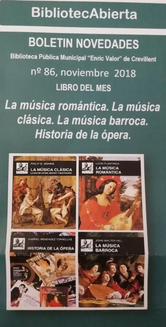 """""""La música romántica. La música clásica. La música barroca. Historia de la ópera"""" es el libro del mes de noviembre de la Biblioteca """"Enric valor"""""""