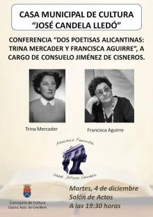 """La escritora Consuelo Jiménez de Cisneros imparte mañana la conferencia """"Dos poetisas alicantinas: Trina Mercader y Francisca Aguirre"""" en la Casa Municipal de Cultura"""