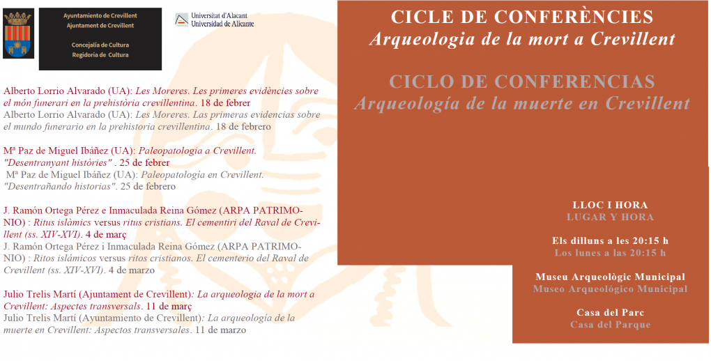 """Julio Trelis impartirá el lunes una conferencia titulada """"La arqueología de la muerte en Crevillent. Aspectos transversales"""""""