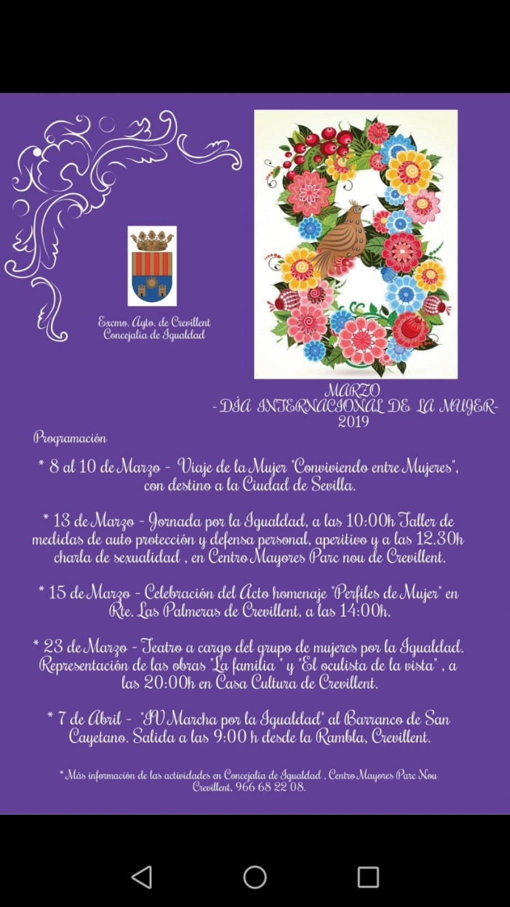 Igualdad organiza varias actividades para conmemorar el Día Internacional de la Mujer