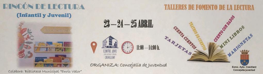 """Juventud celebrará el """"Día Internacional del Libro"""" con talleres especiales y """"El rincón de lectura"""" en el Centre Jove"""