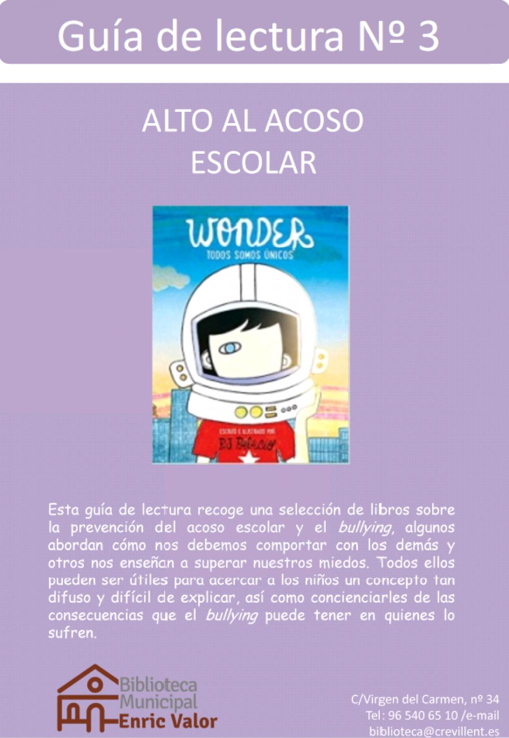 """La Biblioteca Municipal presenta la Guía de Lectura nº3 """"Alto al acoso escolar"""""""
