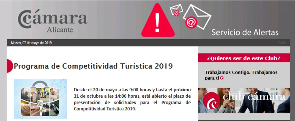 La Cámara de Comercio anuncia el plazo de solicitud para el Programa de Competitividad Turística 2019