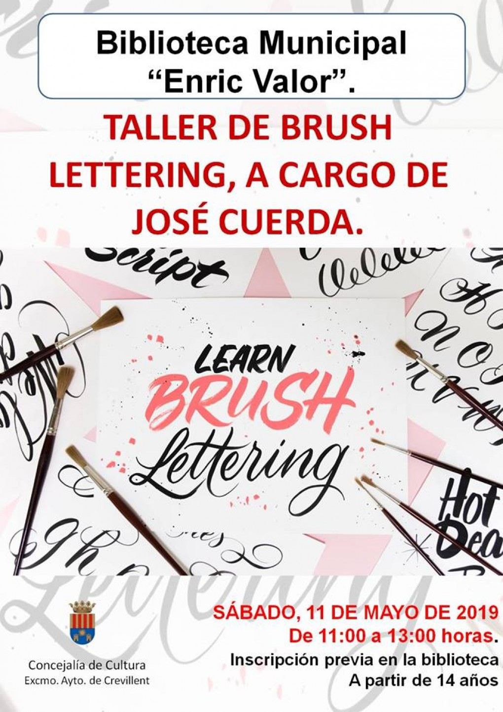 "Cultura organiza un taller de Brush Lettering en la Biblioteca Municipal ""Enric Valor"""