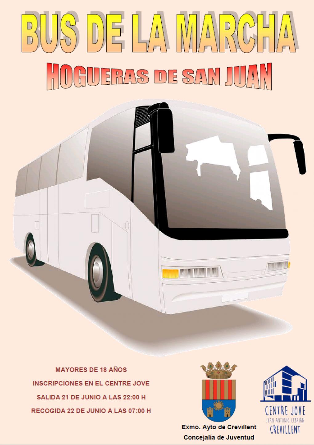 Juventud retoma el Bus de la Marcha para que los jóvenes participen en las Hogueras de San Juan en Alicante