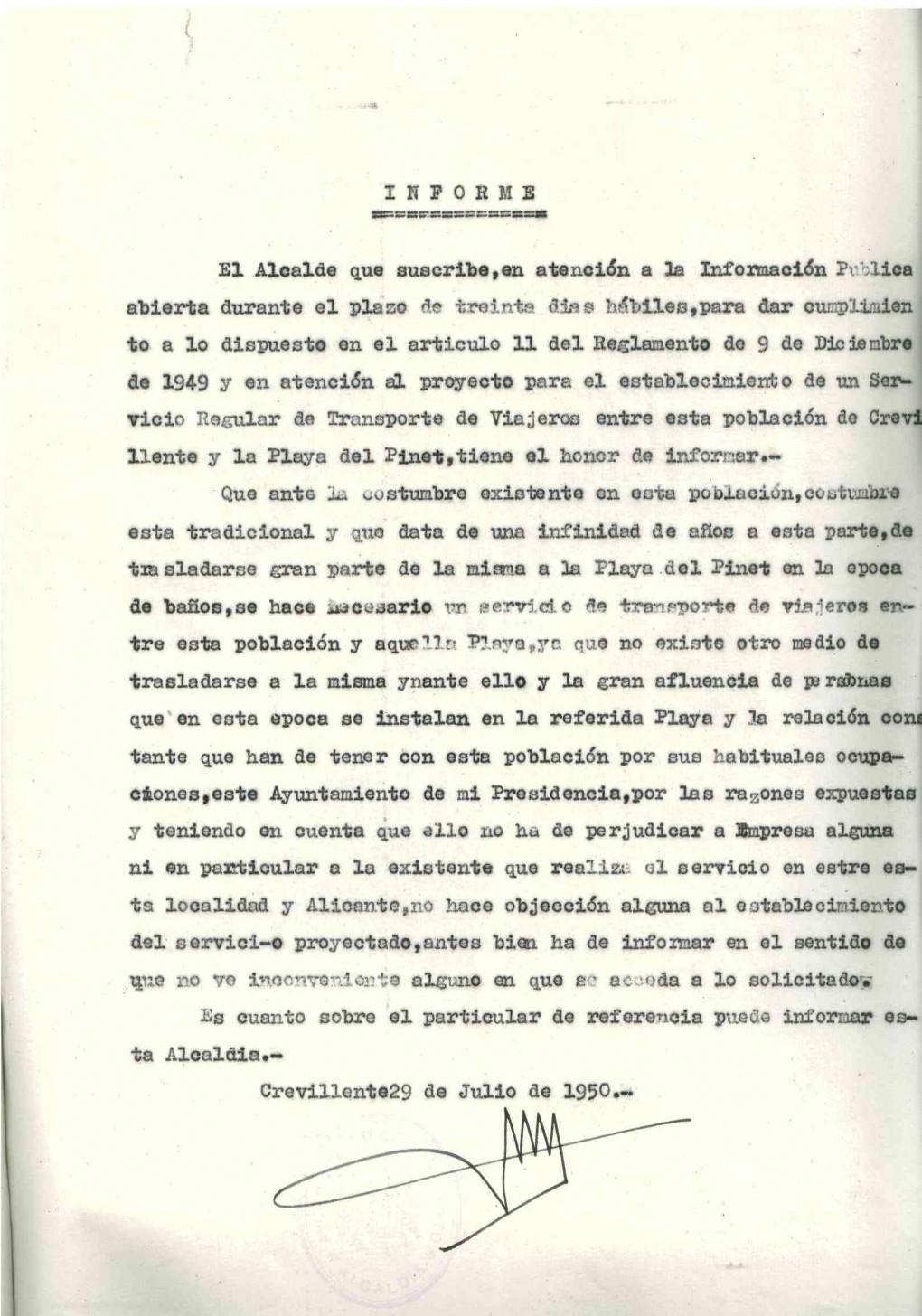 """El expediente de contratación del servicio de transporte entre Crevillent y la playa del Pinet de 1950 es el documento destacado del mes de julio del Archivo Municipal """"Clara Campoamor"""""""