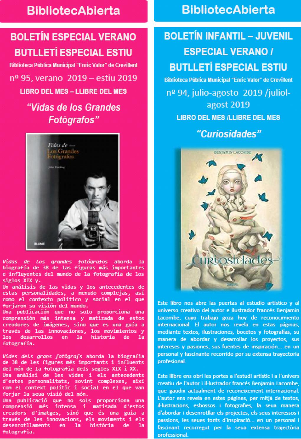 """""""Curiosidades"""" y """"Vidas de los Grandes Fotógrafos"""" son los libros del mes de julio y agosto de la Biblioteca """"Enric Valor"""""""