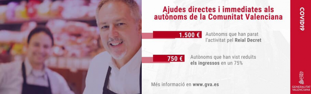 Labora tramitarà ajudes de 750 i 1.500 € per a autònoms de la Comunitat Valenciana afectats per la crisi del coronavirus