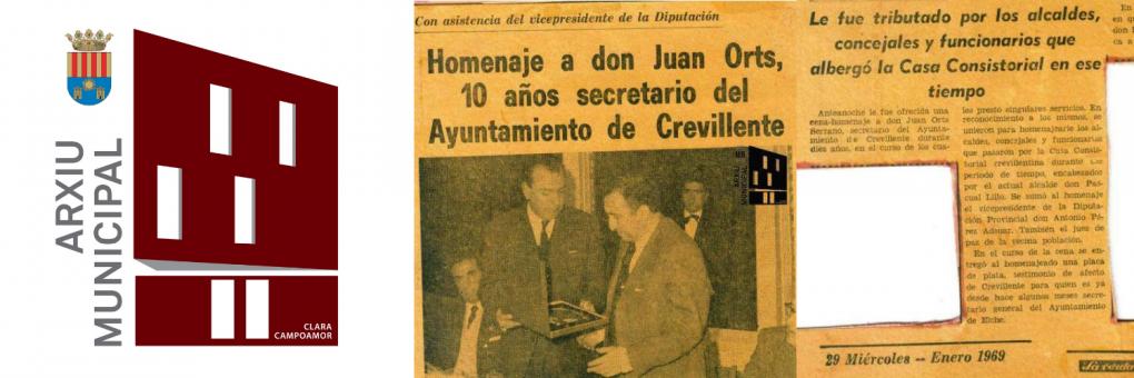 Document del mes: Homenatge a D. Juan Orts Serrano, pels seus 10 anys com a Secretari de l'Ajuntament