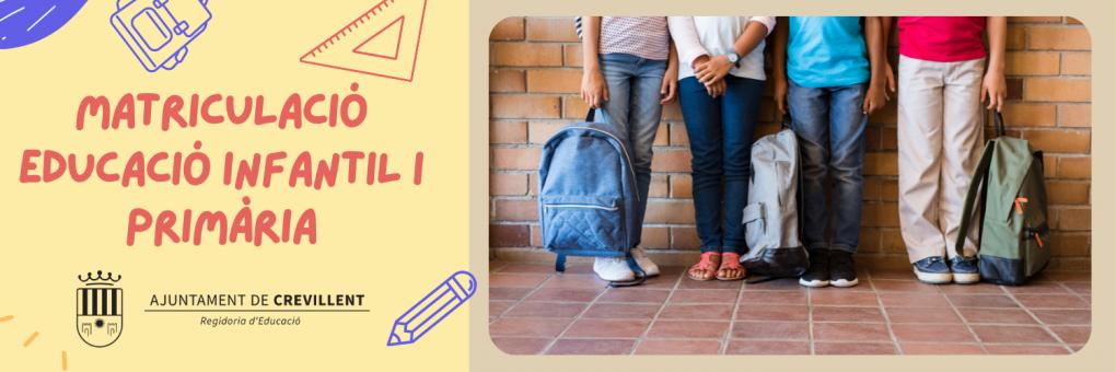 Demà s'inicia la matriculació per al curs 2021-22 en Educació Infantil i Primària