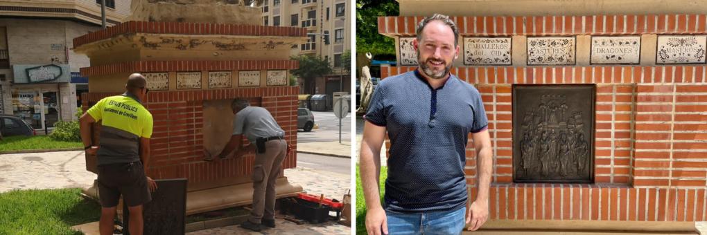 L'Ajuntament reposa la placa escultòrica del Monument a la Festa robada en 2018